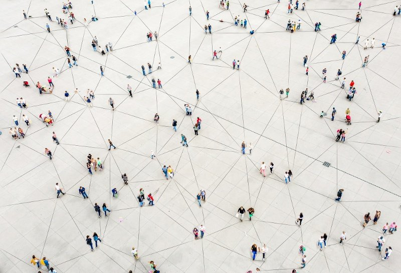 ariel view of crowd connected by lines