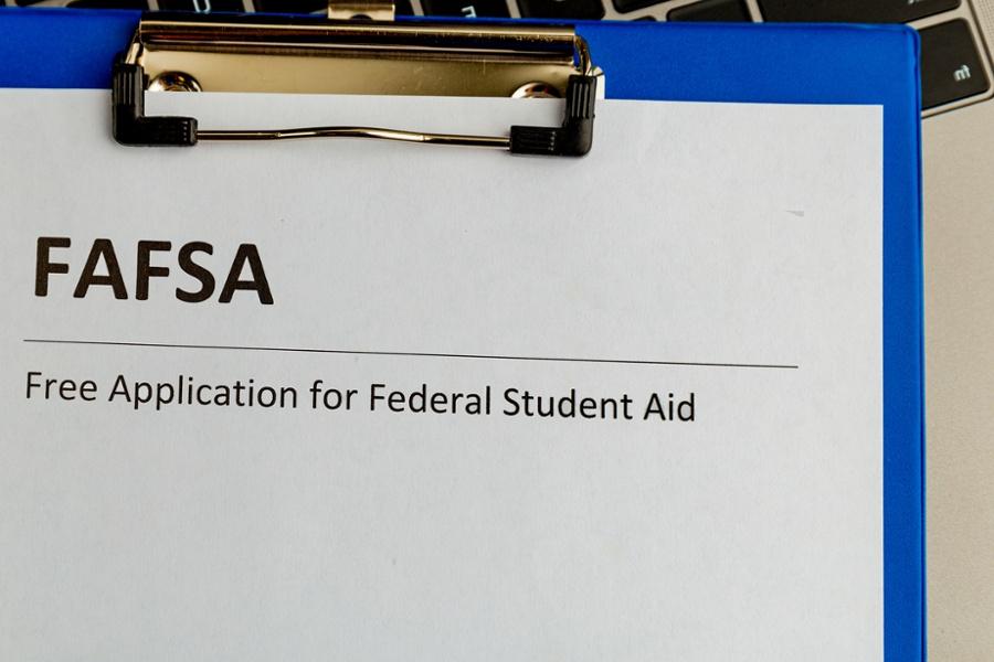 fafsa application on a clipboard
